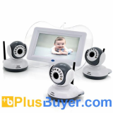 Digital Wireless Baby Monitor with 3 Cameras (7 Inch Screen, 1/4 CMOS, Night Vision, 100m)