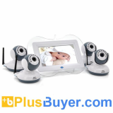 Digital Wireless Baby Monitor with 4 Cameras (7 Inch Screen, 1/4 CMOS, Night Vision, 100m)