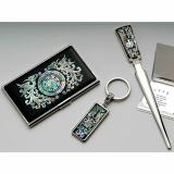Card Case_ Key Ring and Letter Opener Set Phoenix Design