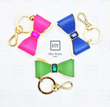 High End Leather Bow Bag Charm Key Ring