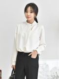 Blouse_ Shirt_ Top_ Front Pleated_ Women_s Apparel