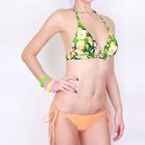 Halter Bikini-orange P Flower-