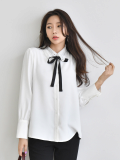 Blouse_ Shirt_ Long Sleeve_ Ribbon_ Callor