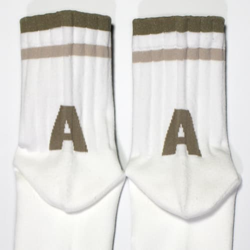 Terry cushioning sole casual sports socks Letter _A_
