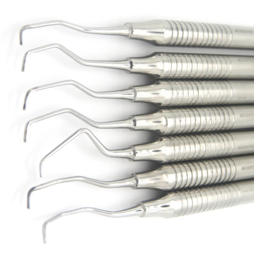 7 Pcs Dental Periodontal Gracey Curettes 12 to 1314 Hollow Handle Double Ended 1