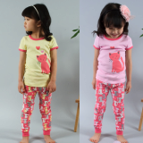 half sleeve_ long trousers pajama set cats