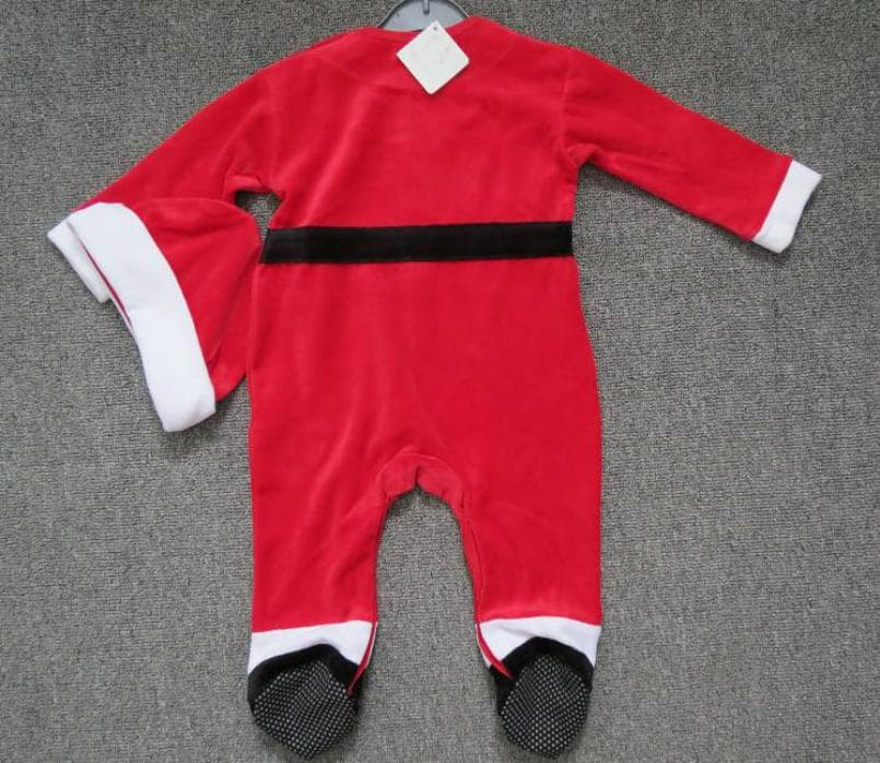 Infants velvet Xmas footie romper with hat_dress
