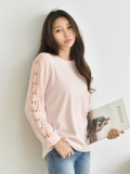 Top_ Womens Tops_ Floral Sleeve_ Boat Neck