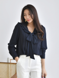 Blouse_ Shirt_ Long Sleeve_V_neck_  Ribbon