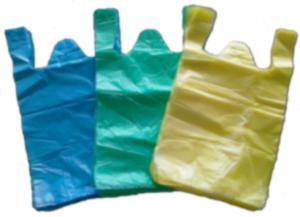 Hdpe plain plastic vest carrier bag from jiangmen for Plastic shirt bags wholesale