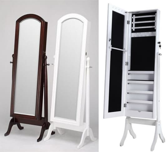 Standing Dressing Mirror With Jewelry Cabinet Tradekorea