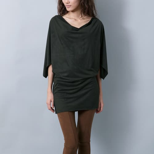 suede wing sleeves dress