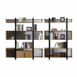 Home_office using metal_ wood 3_5 tiers display bookcase