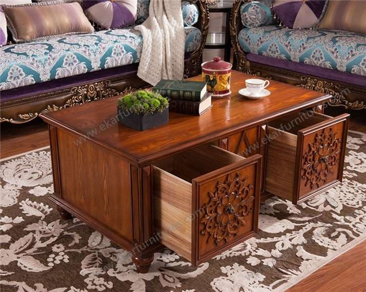 Living Room Furniture Carving Wood Tea Table Part 66