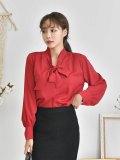 Blouse_ Shirt_ Ribbon Neck_Lantern Sleeve