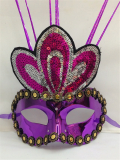 Masquerade Half Face Golden Pattern Mask With Feather