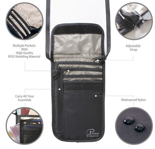 Tactical Travel Anti_theft Rfid Stash Passport Bag Money Wallet Neck Pouch