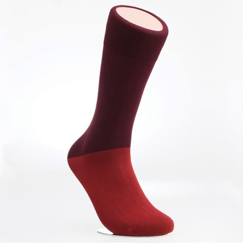 Men_s dress socks _ Brick red block socks_Egyptian cotton