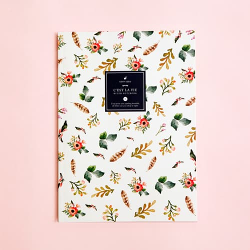 Watercolor Spring Flowers Ruled Notebook