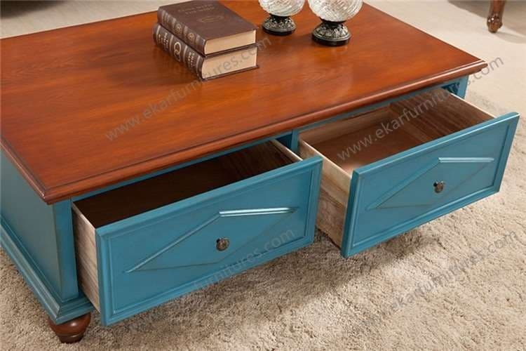 Blue Color Vintage Coffee Table With Two Drawers