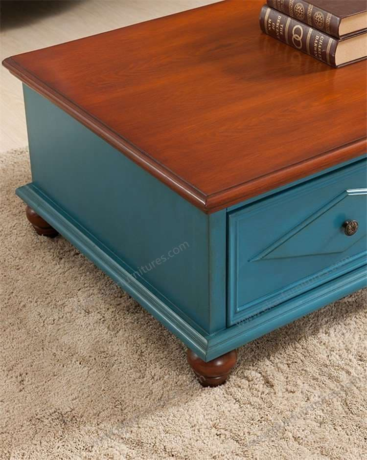 Blue Color Vintage Coffee Table With Two Drawers Tradekorea