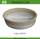 Rattan tray with ceramic inside