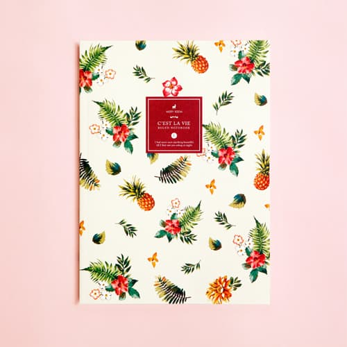 Summer Tropical Pineapple Ruled Notebook