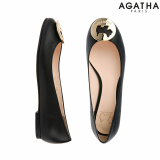 -Agatha- Signature Cut Out  Gold Flat Shoes