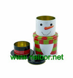 Christmas holiday tin box decorative tin container