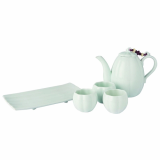 MJ Art Design _Melon_Shaped White Porcelain Tea Set_