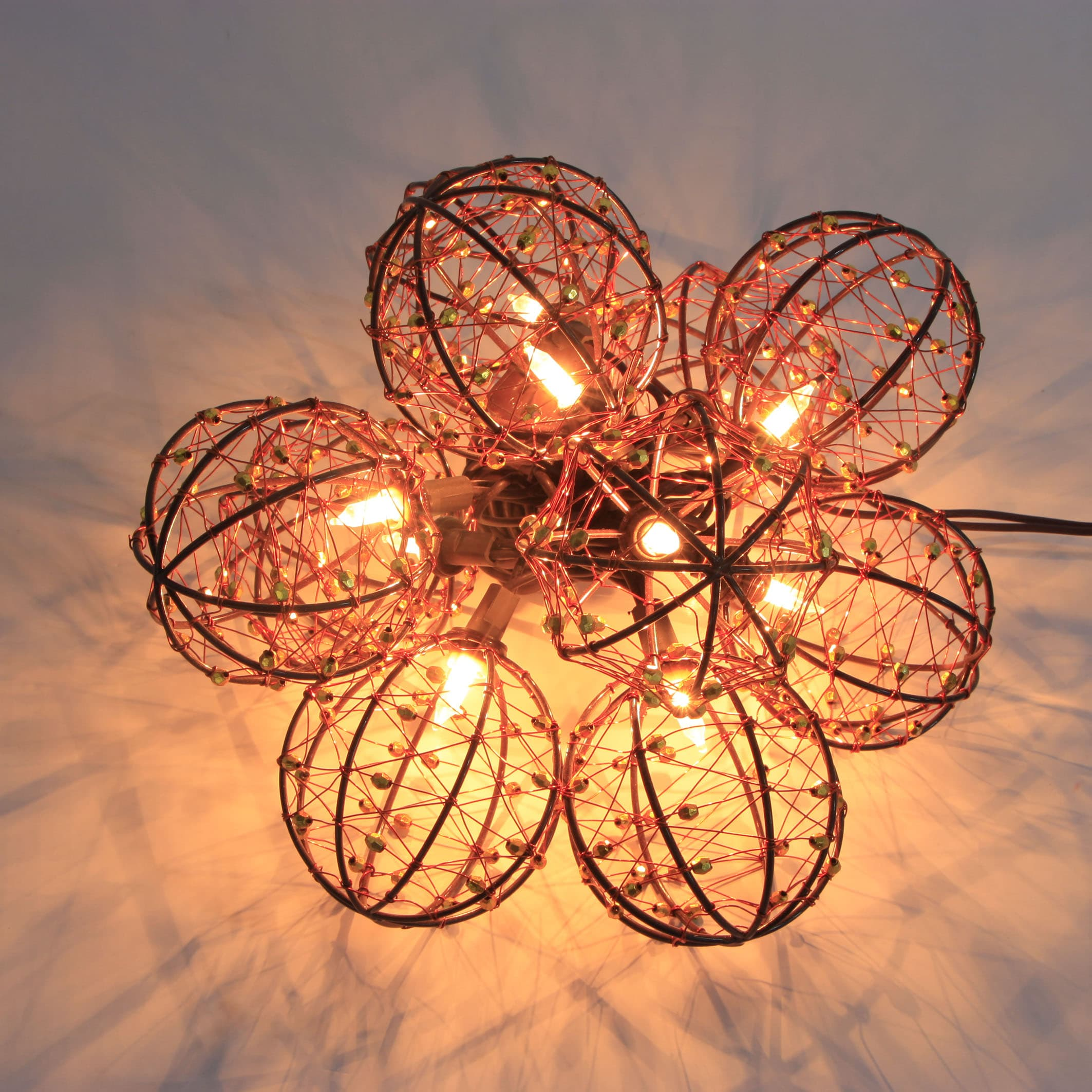 Decorative Beaded Copper Wire Ball String Light 10ct