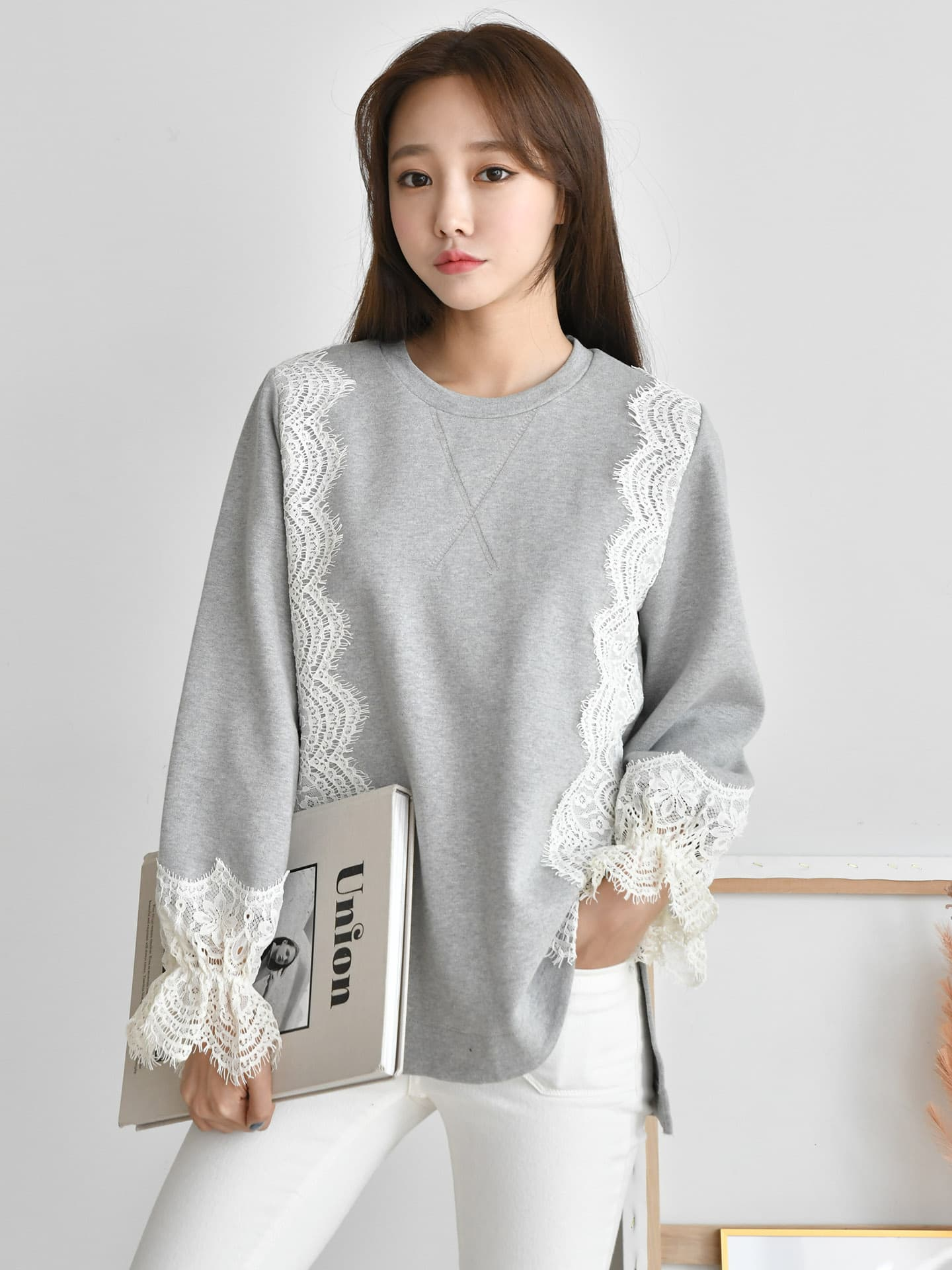 Top_T_Shirt_ lace sleeve_ Cotton_ Boat neck_ Adorable