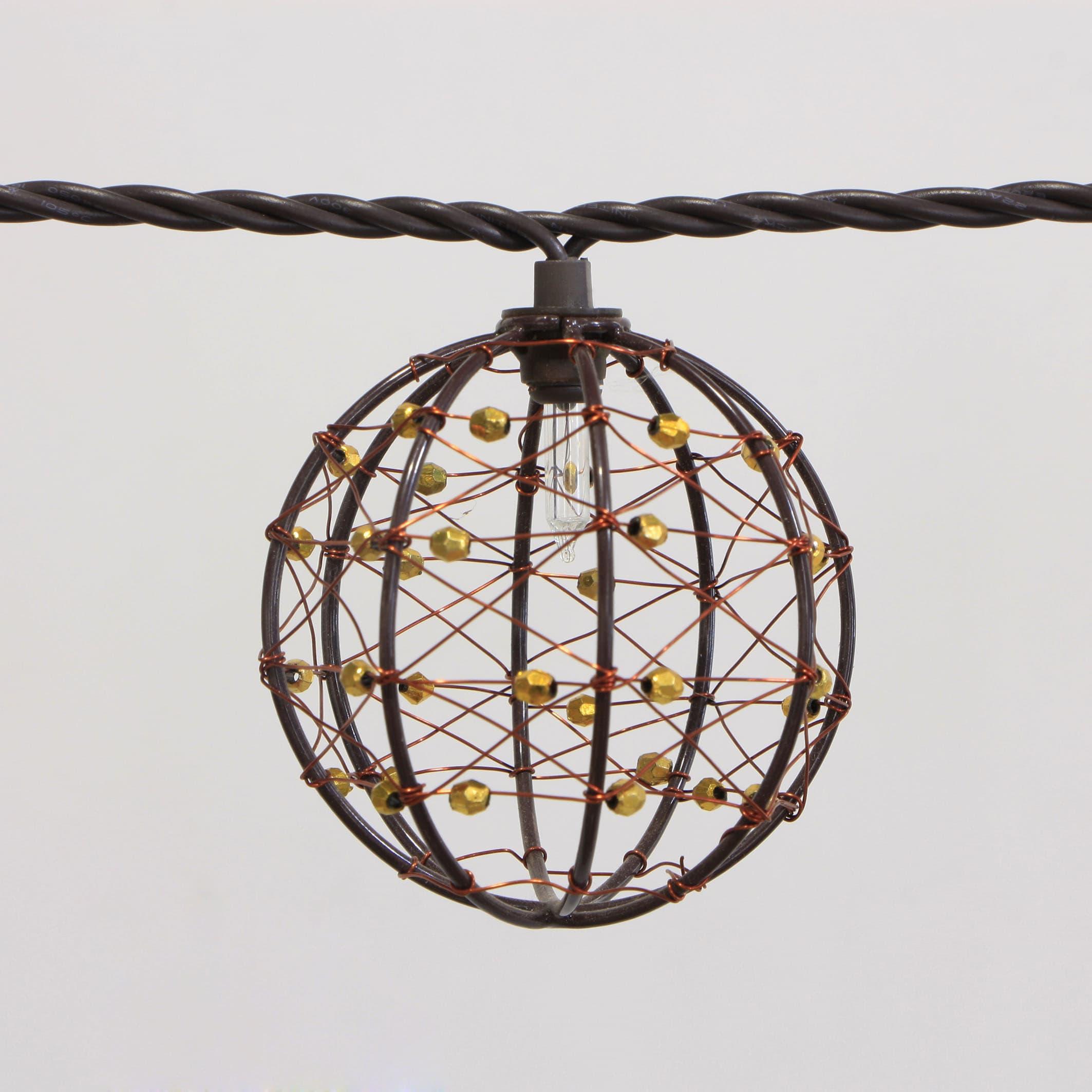 Decorative Beaded Copper Wire Ball String Light 10ct Kf01043 Tradekorea