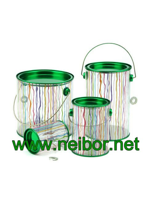 Cylindrical PVC PET bucket plastic pail with tin lid_bottom