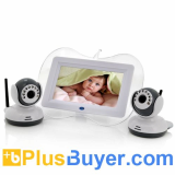 Baby Monitor + 2x Night Vision Camera Set (7 Inch, Two Way Intercom)