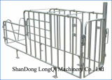 Pig Gestation stall with feed drop tube