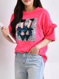 T_Shirt_ Top_ Ruffle on Sleeve_ Ribbon_ Spring New Arrivals