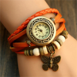 Bohemian butterfly layered watch & bracelet