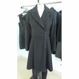 Wool like long coat with zipper at front