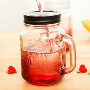 500ml Papery Straw and Tin Cap Colorful Glass Mason Jar