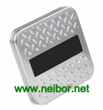 Square gift card tin holder with embossing and PVC winddow