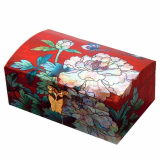 Mother of Pearl Wooden Jewelry Box with Peony Design
