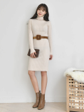 Long Dress_ Winter Dress_ turtleneck_ Midi_ length