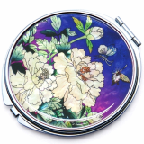 Mother of Pearl Compact Mirror with Peony Blue