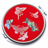 Compact Mirror Inlaid with Mother of Pearl Butterfly