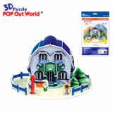 3D Puzzle House Card-Blue