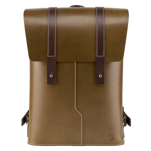 Truhaven Leather Backpack for Men _ Women _Olive Green_