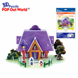 3D Puzzle House Card-Purple