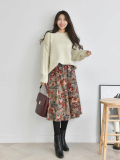 Skirt_ Long Skirt_ Rose Pattern