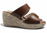 Leather wedge slipper
